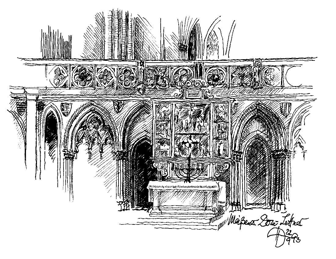 Der Lettner des Domes zu Meißen. Zeichnung: Heinz Dohmen