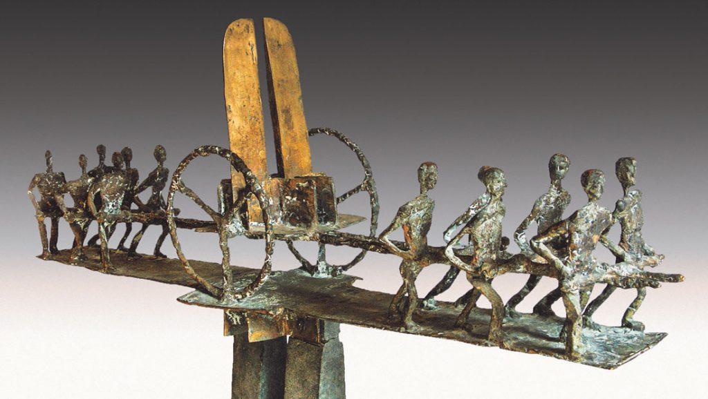 """""""Bundeskarren"""", Bronzeplastik von Franz Hämmerle (Länge 107 cm), 1984, Foto: Franz Hämmerle"""