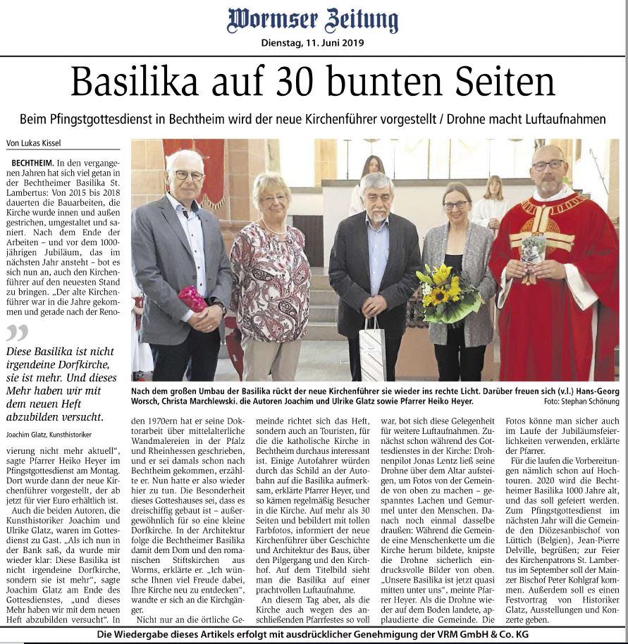 Präsentation des Kunstführers Basilika St. Lambertus Bechtheim, erschienen im Kunstverlag Josef Fink (ISBN 978-3-95976-224-3), Wormser Zeitung, 11. Juni 2019